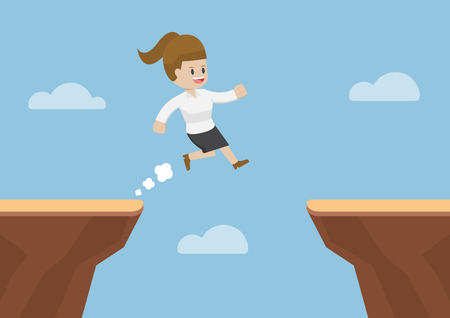 Businesswoman Jump Through the Gap Between Cliff, Business Risk and Success Concept