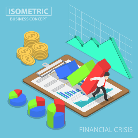 Isometric businessman trying to stop falling graph, business and financial crisis concept 向量圖像