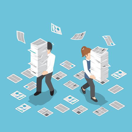 Flat 3d isometric stressful businessman holding stack of paper, overload work and very busy concept