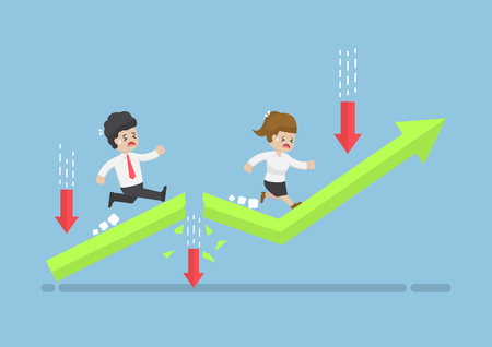 Business People Run to Top of The Graph Through Risky Obstacle. Investment Risk and Business Obstacle Concept