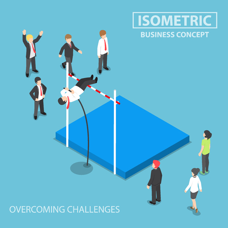 business problems: Flat 3d isometric businessman doing the pole vault, overcoming business problems and obstacles concept