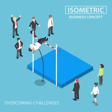 Plana empresario 3D isométrica haciendo el salto con pértiga, la superación de los problemas de negocio y obstáculos conceptuales