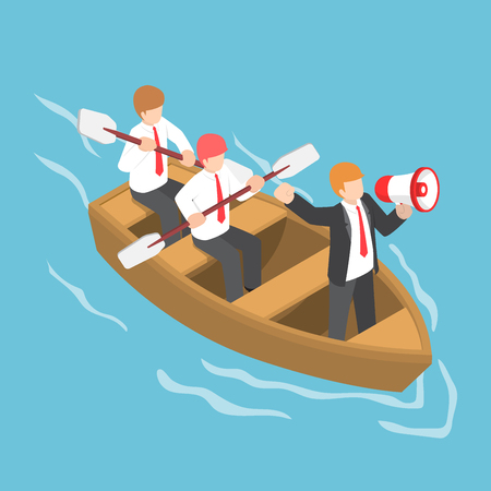 Flat 3d isometric businessman in rowing team with leader command and control through a megaphone, leadership and teamwork concept