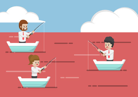 ocean fishing: Business people fishing in red ocean. Business strategy and competition concept.