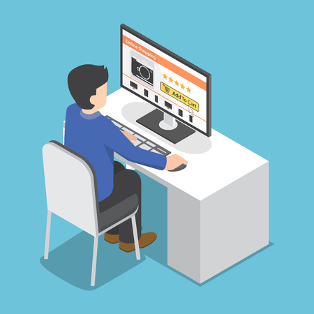 information point: Flat 3d isometric businessman use pc to shopping online, technology and online shopping concept Illustration