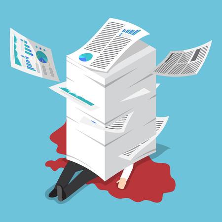 Płaski 3d izometrycznej przepracowany biznesmen pod stos papieru, ciężko pracujących koncepcji Ilustracje wektorowe