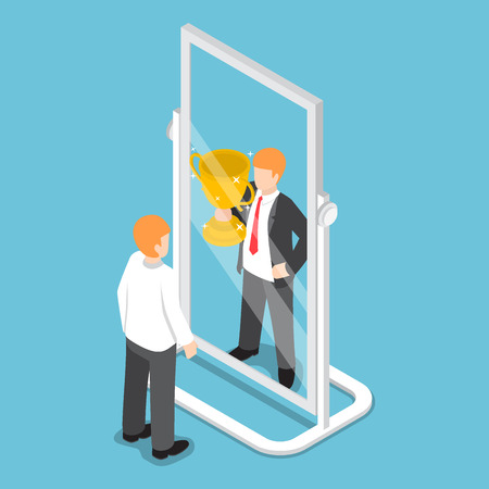 Vlakke 3d isometrische zakenman ziet zichzelf succesvol in de spiegel, succesvol carriereconcept