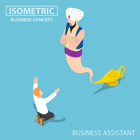 Flat 3d isometric businessman and genie giant in the magic lamp, business Assistant and solution concept