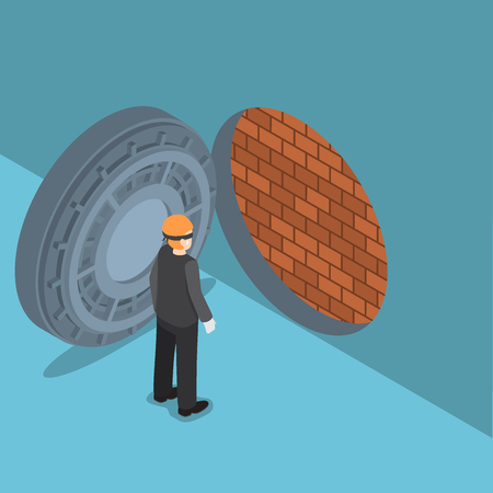 Flat 3d isometric thief with vault door with brick wall inside, business security system concept