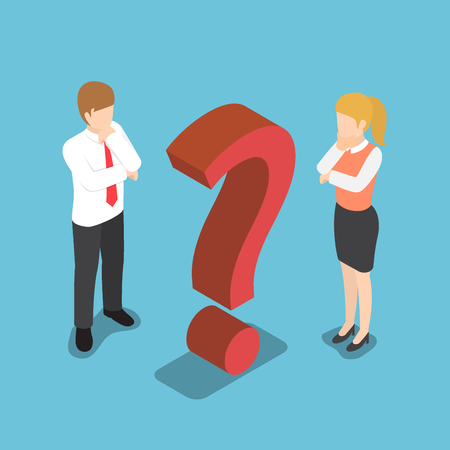 Flat 3d isometric confused businessman and businesswoman with question mark sign. Vectores