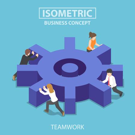 Flat 3d isometric business team pushing a big cogwheel. Teamwork concept.