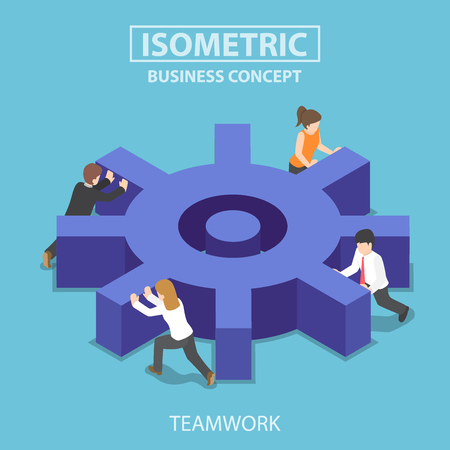 Flat 3d isometric business team pushing a big cogwheel. Teamwork concept. 版權商用圖片 - 77016414