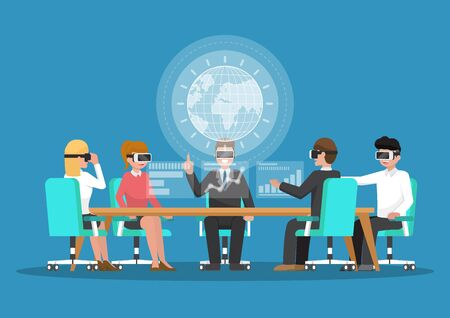 Business people wear vr glasses in virtual reality conference. Business and technology concept Illustration
