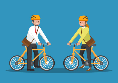 Businessman and businesswoman riding bicycle go to work.
