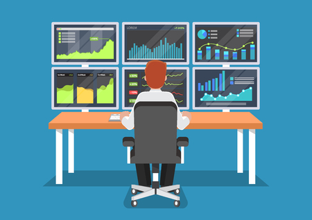 Businessman or stock market trader working at desk with six monitor showing data.