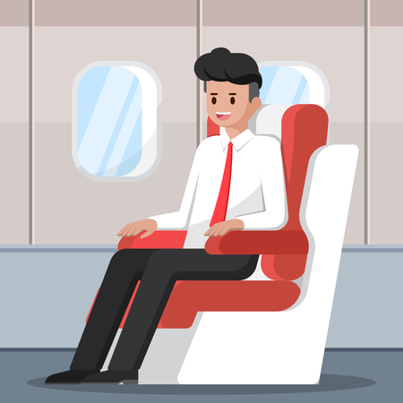 first plane: Businessman character sitting and relax in business class seat on the plane. Illustration