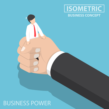 Flat 3d isometric businessman being squeezed by big hand. under pressure and business power concept Illustration