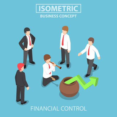 Flat 3d isometric businessman playing the flute to control stock market graph, business and financial management concept