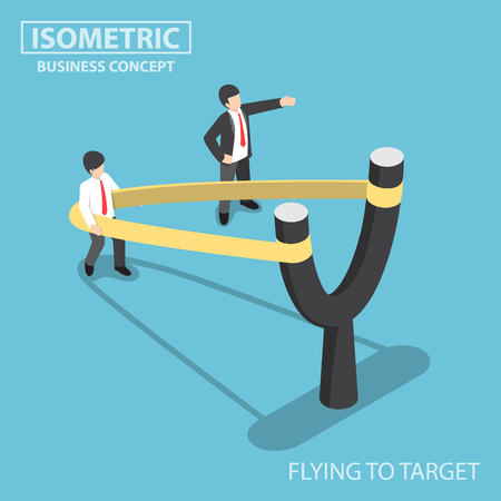 career up: Flat 3d Isometric businessman preparing to fly by Y-shaped slingshot catapult, start up business and career development concept Illustration