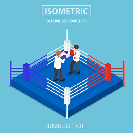 Flat 3d isometric businessmen fighting on boxing ring, business competition concept Illustration
