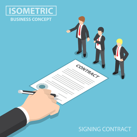 Flat 3d Isometric Businessman Hand Signing Contract in front of CEO, Making Business Deal and Employment Concept