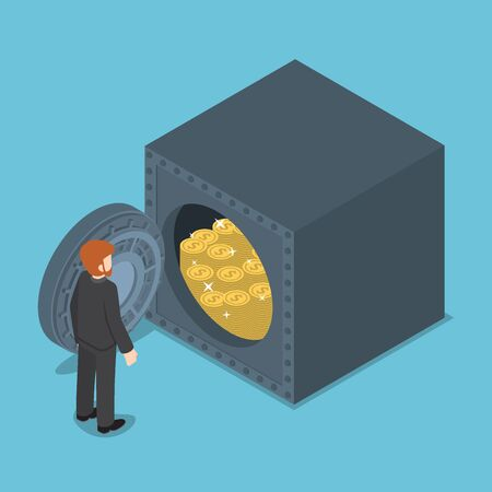 wealth concept: Businessman Standing in front of Safe Full of Money, Wealth and Saving Money Concept.