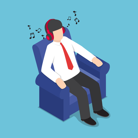 Flat 3d Isometric Businessman Resting at Sofa and Listening Music from Headphones, Relax Concept