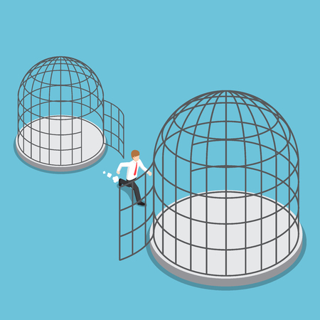 Flat 3d isometric businessman leave small cage go to the bigger cage.