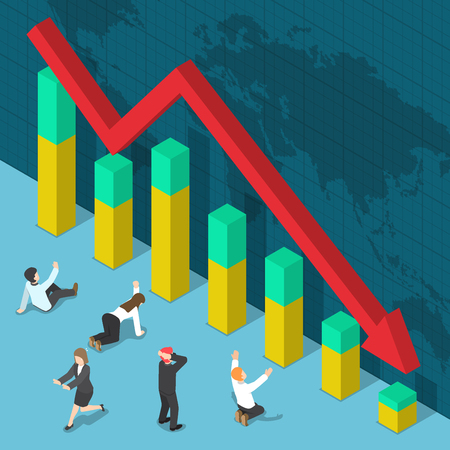 Businessman Shocked when Business Graph Falling Down, Business Crisis and Bankruptcy Concept Illustration