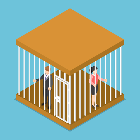 Flat 3d isometric businessman and businesswoman trapped in the cage.
