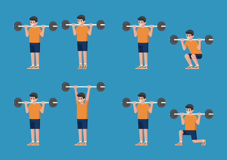 Set of man in bodybuilding and weight training poses. Standing Barbell Calf Raise. Standing Barbell Shoulder Press.