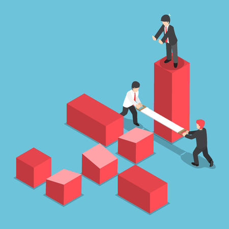 competitor: Flat 3d Isometric Businessman Trying to Destroy Business of His Rival, Eliminate Business Rival and Competition Concept
