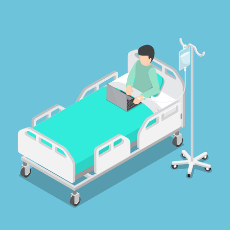overwhelmed: Flat 3d Isometric Businessman Working on Hospital Bed with Saline Solution On Patients Hand, Work Hard and Workaholic Concept Illustration