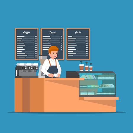 Barista behind counter bar of the coffee shop. Coffee shop bar counter design.