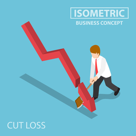 Flat 3d Isometric Business Cut Falling Graph by Axe, Stock Market Investment and Cut Loss Concept Illustration