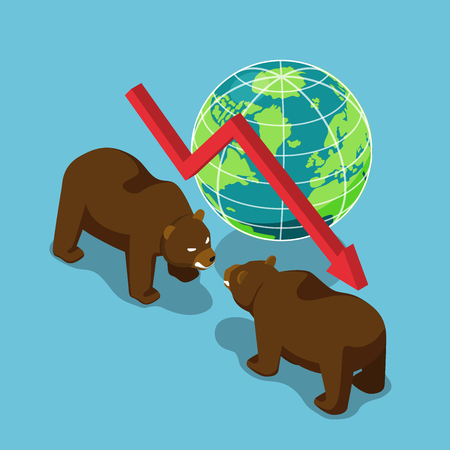 Flat 3d isometric bears fighting with world and falling graph. Bearish stock market and financial concept.