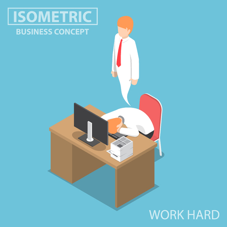 Flat 3d Isometric Businessman Work Hard Until Dead, Work Hard Concept
