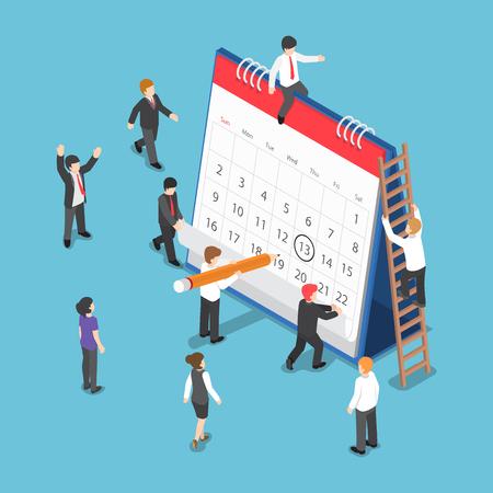 Gente de negocios isométrica plana 3d que planea y que programa la operación dibujando la marca del círculo en el calendario del escritorio. Concepto de planificación y programación de operaciones empresariales. Ilustración de vector