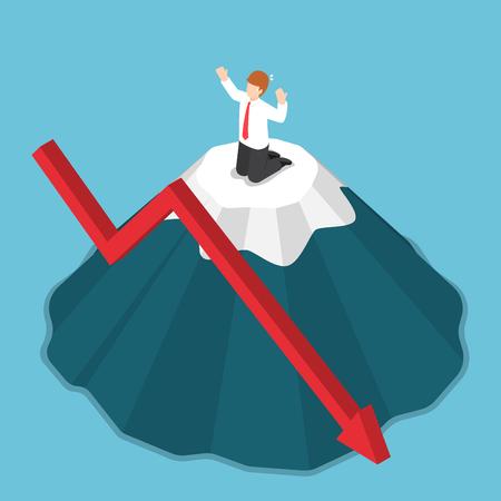 Plano 3d empresario isométrico atrapado en la cima de la montaña. Concepto de riesgo de inversión y crisis empresarial