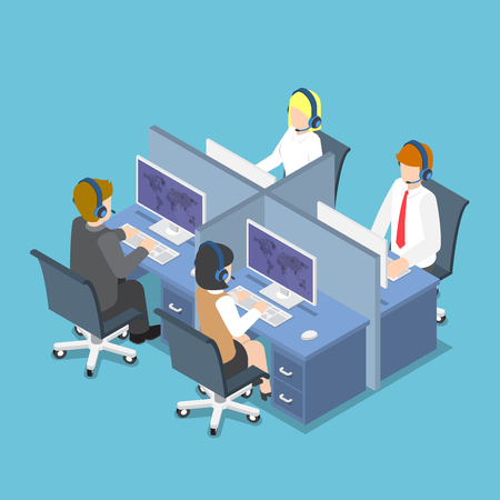Flat 3d Isometric Business People Working with Headset in a Call Center and Service. Customer Service and Technical Support Concept.