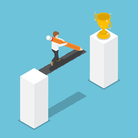 Flat 3d isometric businessman drawing bridge by pencil leading to the winner trophy. Create path to success concept.