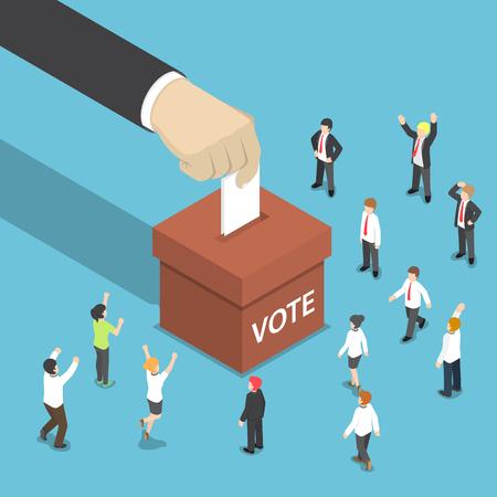 Platte 3d isometrische zakenman hand zetten stemming papier in de stembus. Stem- en verkiezingsconcept.
