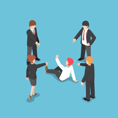 Gente de negocios isométrica plana 3d que señala el dedo a culpar al hombre de negocios. Concepto de falla empresarial. Ilustración de vector