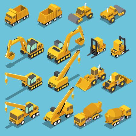 平らな 3 d アイソ メトリック建設・運輸ショベル、クレーン年生、コンクリート ミキサー車、ロード ローラー、フォーク リフト、ブルドーザーに