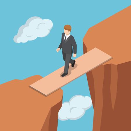 崖の間のギャップを横切って木製の橋の上を歩くフラットアイソメビジネスマン。