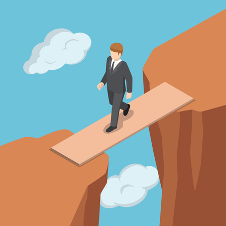 Flat isometric businessman walking on wooden bridge across the gap between cliff. Ilustração