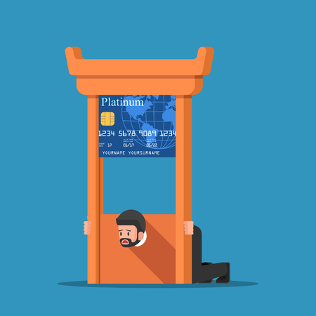 paintings: Businessman stuck in credit card guillotine. Illustration