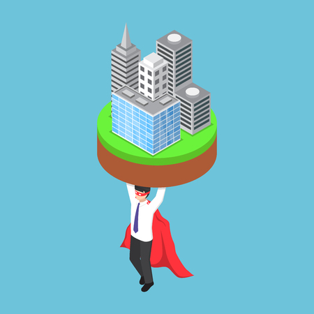 Flat 3d isometric businessman carrying business building. Business leadership concept. Illustration