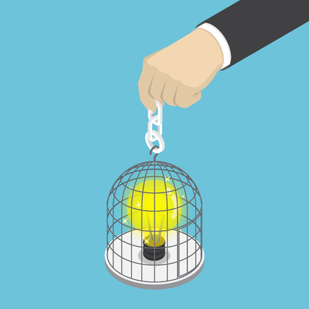 Flat 3d isometric businessman hand holding birdcage with light bulb of idea inside. Idea concept. Illustration