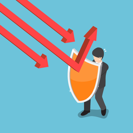 Businessman use shield to protect falling graph.